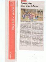 article de presse Le Journal de Montreuil sur goûter anniversaire à la ferme pédagogique du doux riez de l'Authie