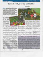 article de presse l'écho du pas-de-calais sur la ferme pédagogique du doux riez de l'Authie